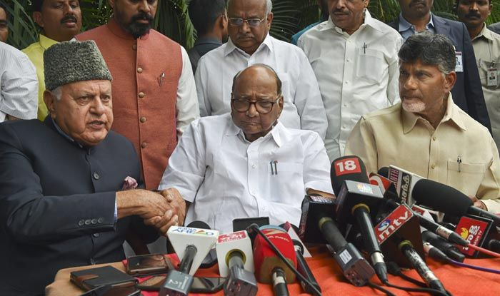 National Conference President Farooq Abdullah , NCP chief Sharad Pawar and Andhra Pradesh Chief Minister and TDP supremo N Chandrababu Naidu address the media after a meeting