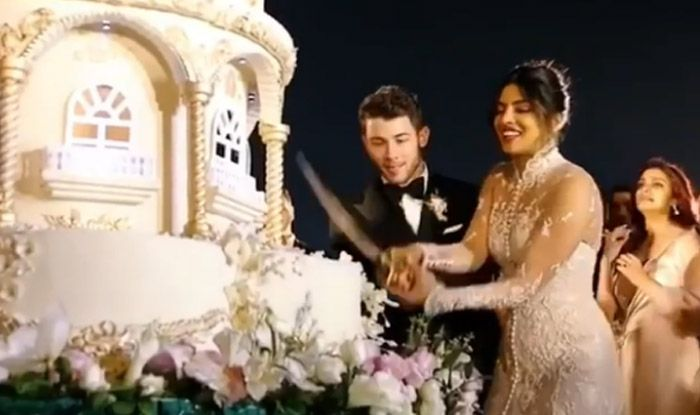 Priyanka Chopra And Nick Jonas Cut Their Huge Wedding Cake With A