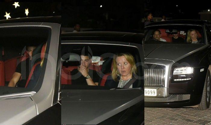 Priyanka Chopra and Nick Jonas outside Salman Khan's Galaxy apartments. Photo Courtesy: Yogen Shah/ India.com