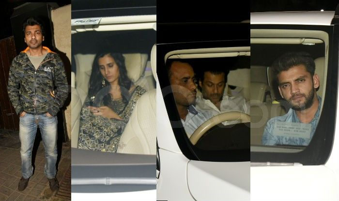 Nikhil Dwivedi, Pragya Kapoor, Abhishek Kapoor and Zaheer Iqbal outside Salman Khan's Galaxy apartment. Photo Courtesy: Yogen Shah/ India.com