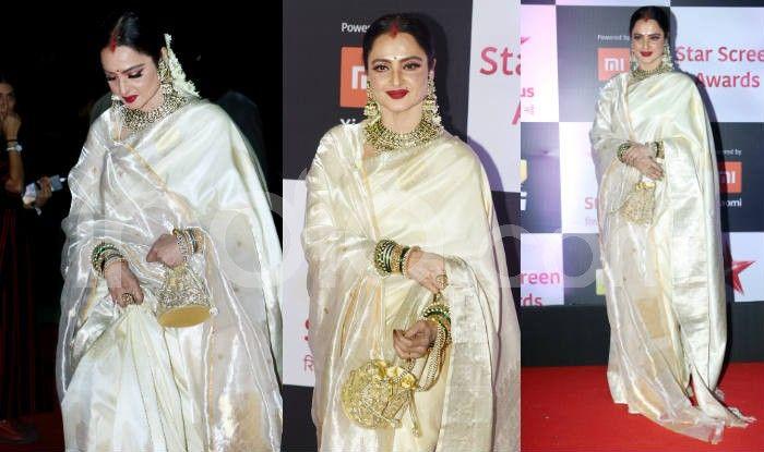Rekha at the red carpet of Star Screen Awards 2018. Photo Courtesy: Yogen Shah/ India.com