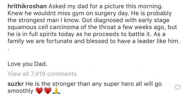 Sussanne's comment on Hrithik's post