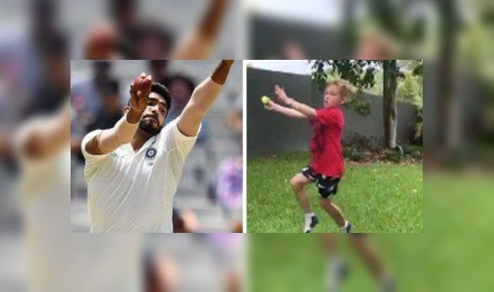 Image result for child imitating jasprit bumrah
