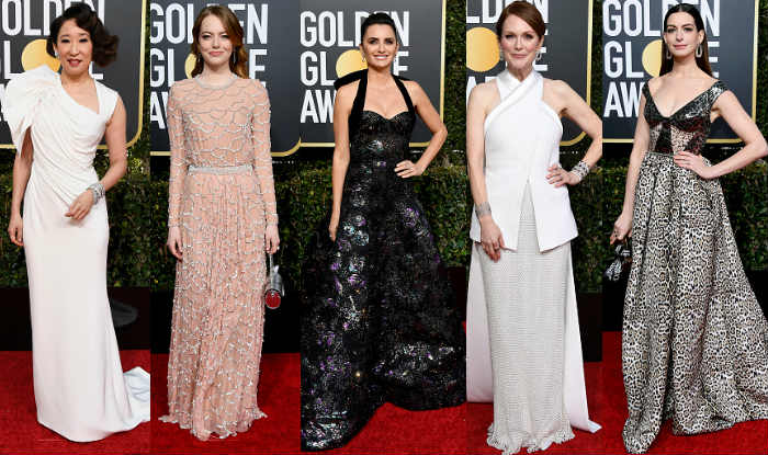 Sarah Oh, Emma Stone, Penelope Cruz, Julianne Moore and Anne Hathaway at Golden Globes 2019 (Photo Courtesy: Getty Images)