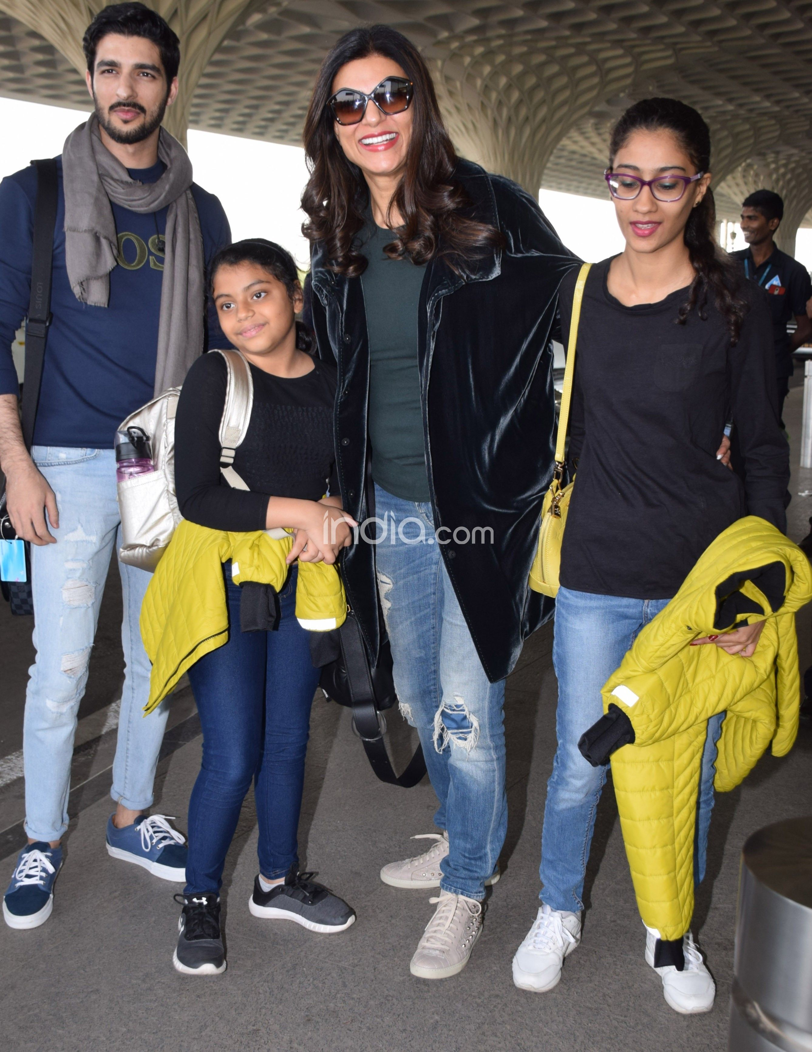 Sushmita Sen and daughters with Rohman Shawl