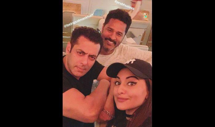 Sonakshi Sinha with Salman Khan and Prabhu Deva