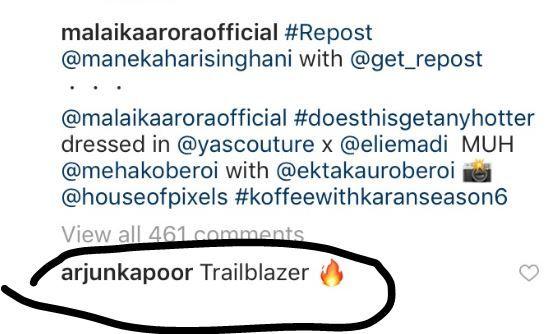 Arjun Kapoor's comment on Malaika Arora's photo