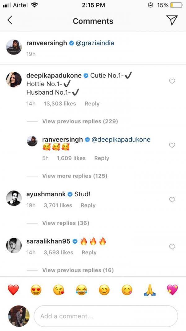 Deepika Padukone comments on Ranveer Singh's picture