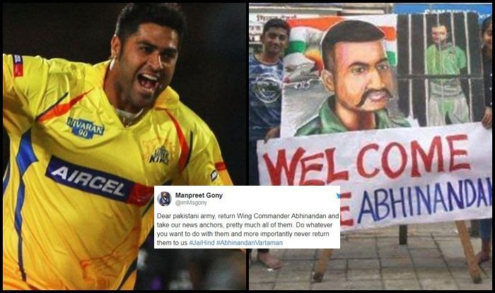 Tweet of Manpreet Singh Gony supporting Abhinandan Varthaman