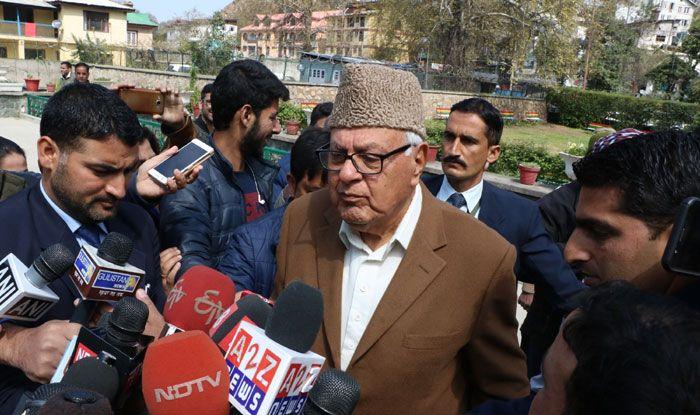 Farooq Abdullah addressing the media