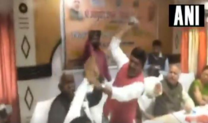 BJP MP Sharad Tripathi Hits MLA Rakesh Singh Baghel With Shoe at an Event, Video Goes Viral