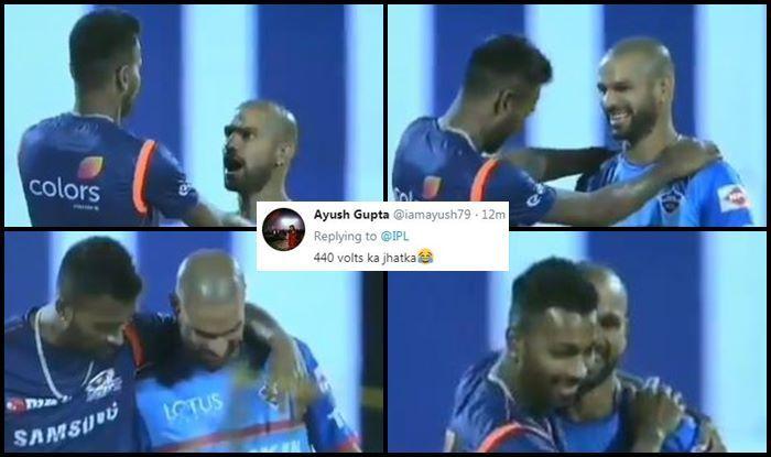 Hardik Pandya Shikhar Dhawan DC v MI IPL 2019