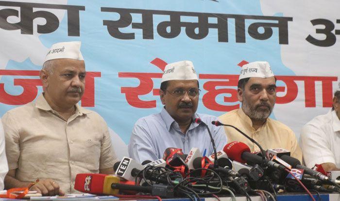 Aam Aadmi Party leaders after releasing manifesto