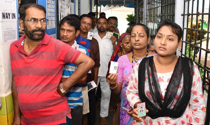 Voters at polling station in Goa