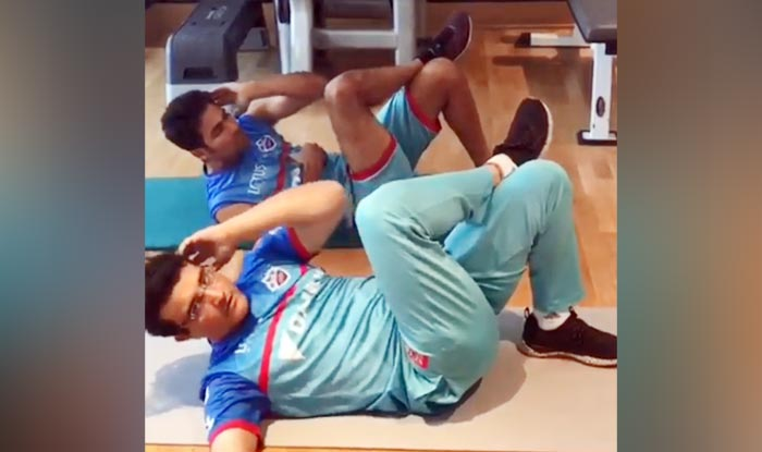 Sourav Ganguly and Mohammed Kaif working out_picture credits-Delhi Capitals video screenshot
