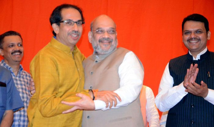 Shiv Sena chief Uddhav Thackeray with BJP's Amit Shah