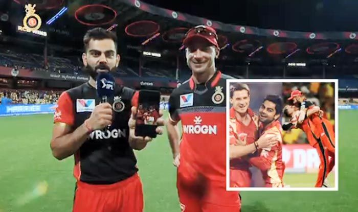 Virat Kohli and Dale Steyn react to a throwback picture_picture credits- IPL video screenshot