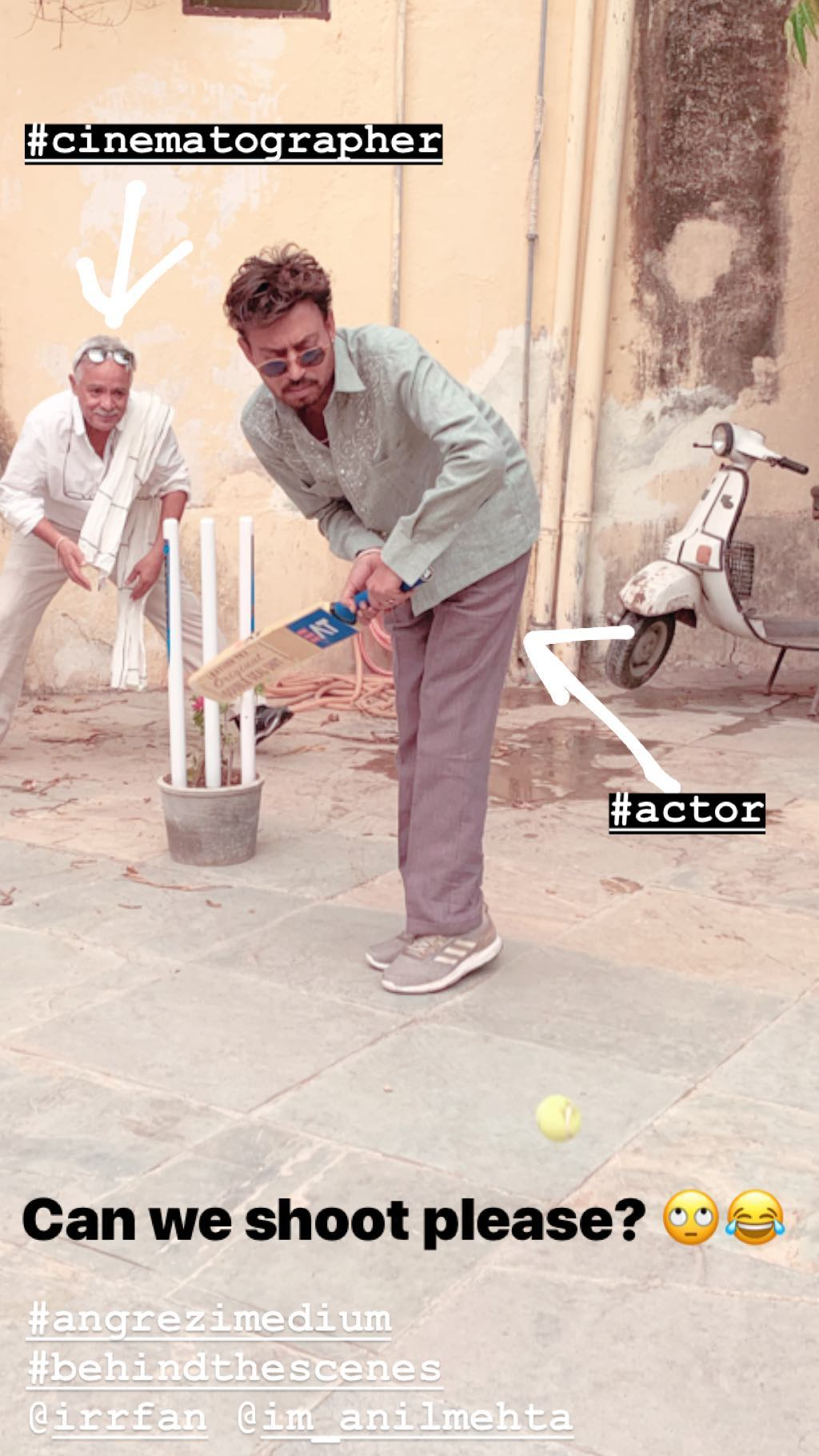 Irrfan Khan play cricket on set of Angrezi Medium