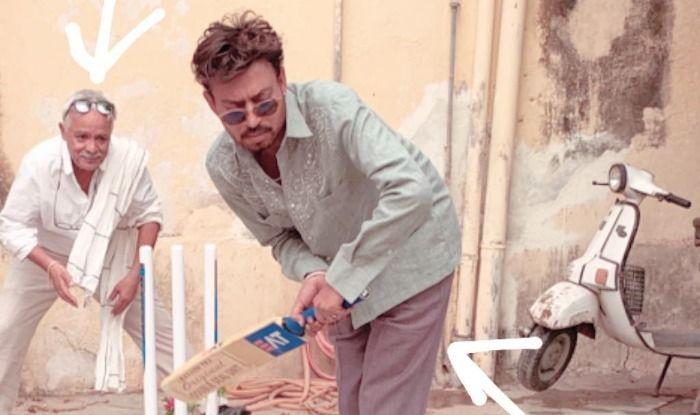Irrfan Khan plays cricket on set of Angrezi Medium