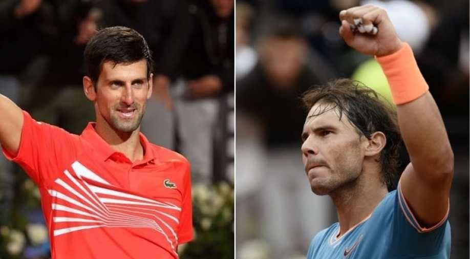 Rafael Nadal and Novak Djokovic during their Italian Open final. Image Source: AFP.