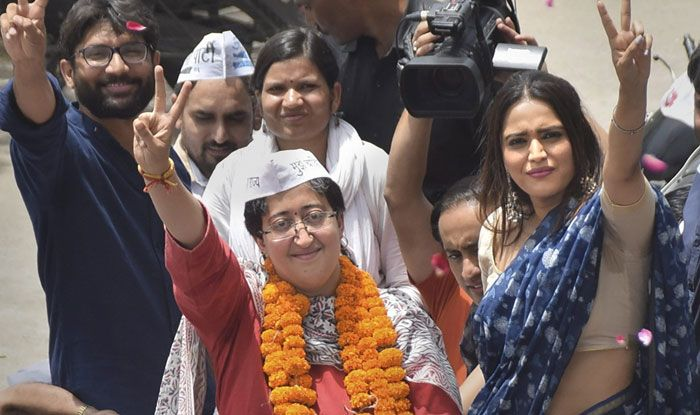 Atishi and Swara Bhasker during poll campaign in Delhi