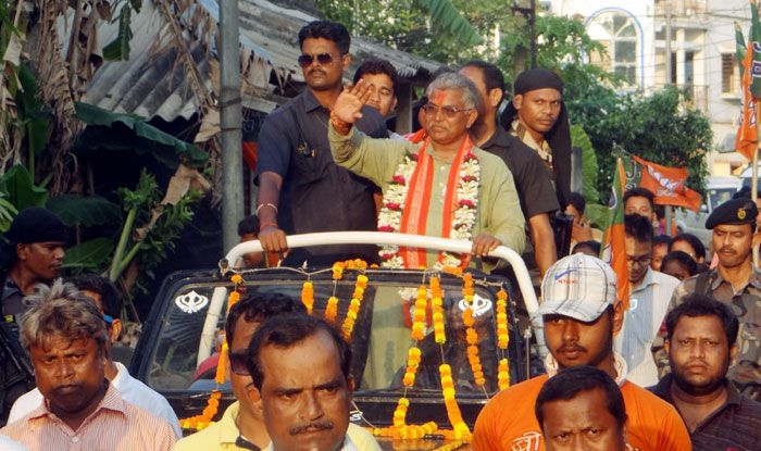 West Bengal BJP chief Dilip Ghosh during a roadshow