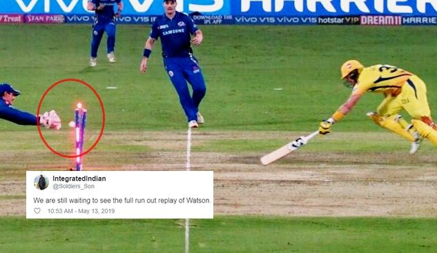CSK's Shane Watson run out in IPL final against MI
