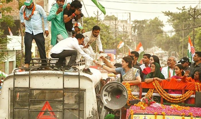 Priyanka Gandhi campaigning in New Delhi