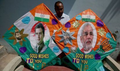 Kites with pictures of Rahul Gandhi and Narendra Modi. Photo Courtesy: IANS