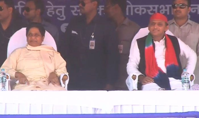 BSP chief Mayawati with SP chief Akhilesh Yadav