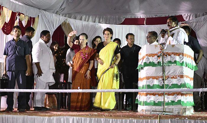 Congress' Priyanka Gandhi Vadra and Sonia Gandhi