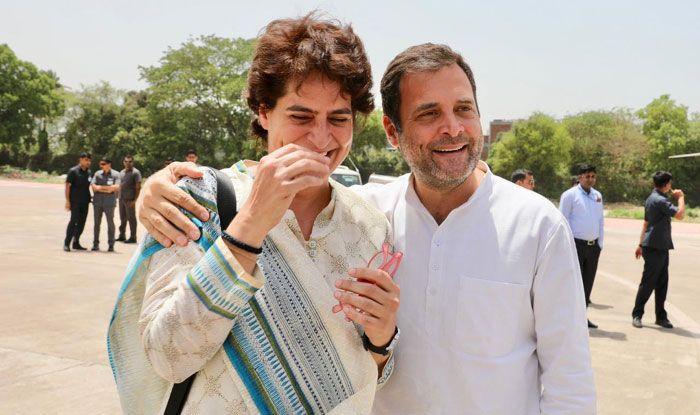 Priyanka Gandhi Vadra with her brother Rahul Gandhi