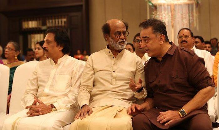 Rajinikanth with Kamal Haasan. Photo Courtesy: IANS