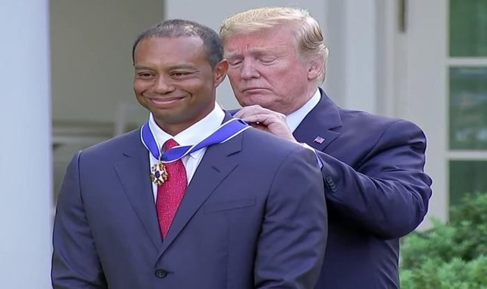 Tiger Woods receives medal from US president Trump_Picture credits-Twitter