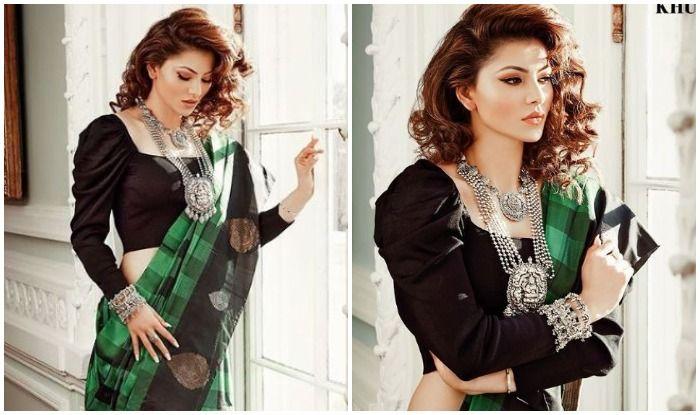 Urvashi Rautela Looks Gorgeous Beyond Words in This Green Black Stylish Saree
