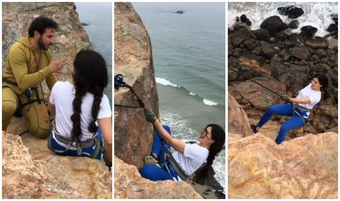 Jacqueline Fernandez Turns The 'Stunt' Hotter as She Jumps Down a Malibu Cliff
