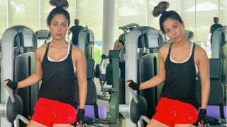 Hina Khan Flaunts Her Toned Body in Gym Pictures And Fans Laugh on Her Funny Hairstyle
