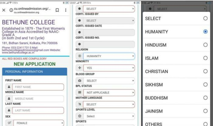 Kolkata: Bethune College Introduces Humanity Option as Religion in Admission Form, Twitter Full of Praise