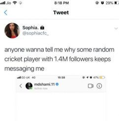 """anyone wanna tell me why some random cricket player with 1.4m followers keep messaging me,"""