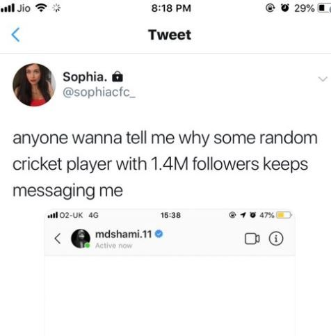 """""""anyone wanna tell me why some random cricket player with 1.4m followers keep messaging me,"""""""