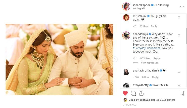 Anand Ahuja's mushy comment on Sonam Kapoor's post