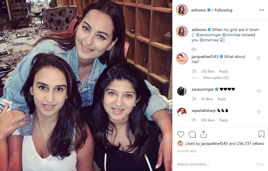 Jacqueline Fernandez' FOMO comment on Sonakshi Sinha's Instagram post