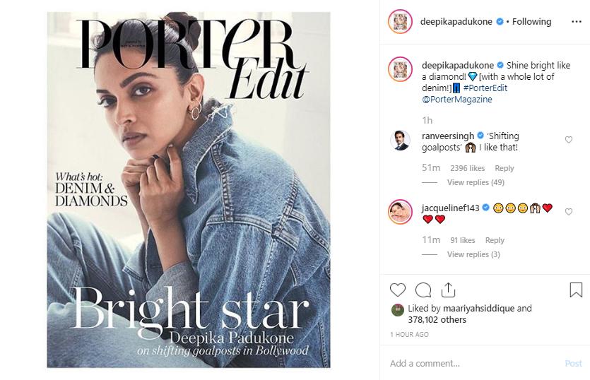 Ranveer Singh's comment on Deepika Padukone's Instagram post