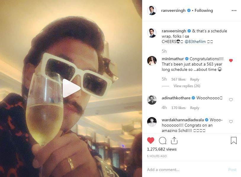 Mini Mathur's comment on Ranveer Singh's Instagram post