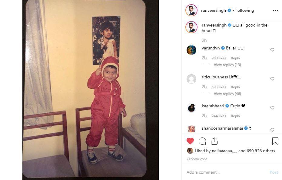 Varun Dhawan and Kaam Bhaari's comments on Ranveer Singh's Instagram post