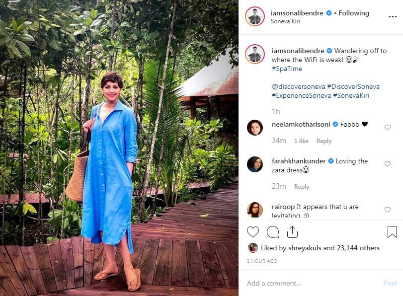 Farah Khan's comment on Sonali Bendre's picture from Thailand