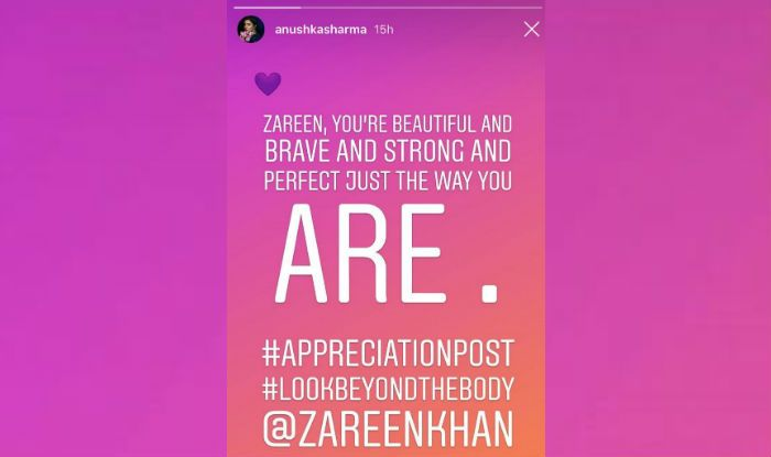 You're perfect: Anushka comes in support of Zareen Khan