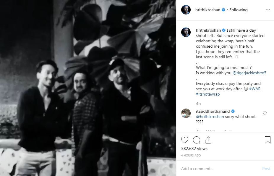 War director Siddharth Anand's comment on Hrithik Roshan's Instagram post