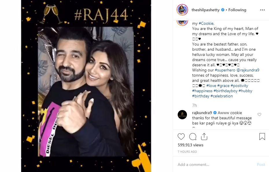 Raj Kundra's comment on Shilpa Shetty's birthday post for him on Instagram