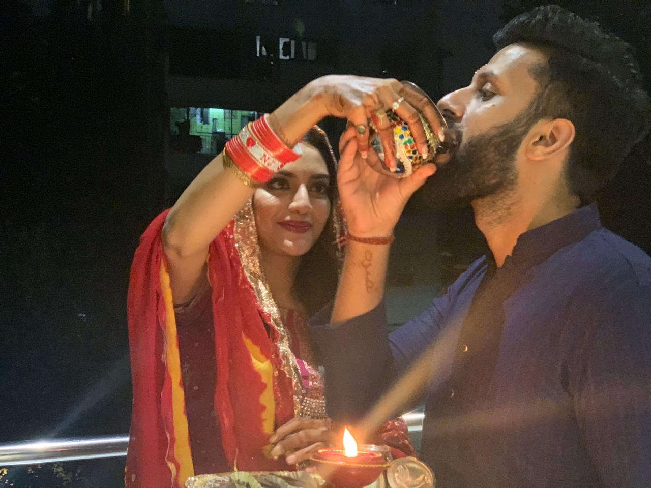 Nusrat and Nikhil's Karwa Chauth celebrations.
